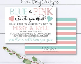 Gender Reveal Invitation, Blue Or Pink Gender Reveal Party, Baby Reveal Invite, Pink and Blue Gender Invitation, Gender Reveal Party