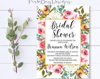 Floral Bridal Shower Invitation, Watercolor Shower Invitation, Bridal Shower Invite, Shower Invitation, Fall Bridal Shower