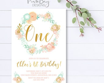 Floral Birthday Invitation, First Birthday Invitation, Pink And Mint Birthday Invitation, Floral Wreath Invitation, Floral Birthday
