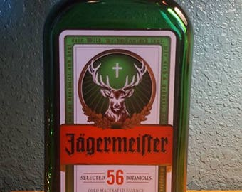 Jagermeister Your Choice Upcycled Lamp or LED Light Made to Order