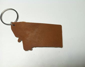 Montana leather keychain