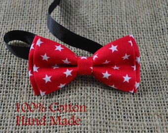 Boy infant Kids Baby 100% Cotton RED WHITE Stars Bow Tie Bowtie Wedding 1-6 Years Old