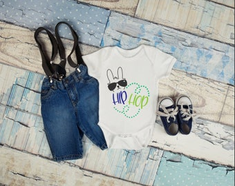 Hip Hop Baby Onesie, Easter Outfit, Bunny Outfit