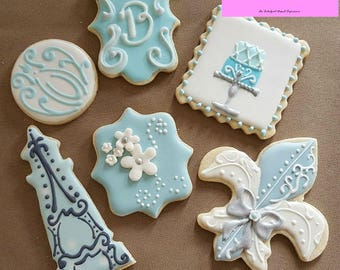 Decorated French Iced Cookies Paris Blue Fleur de Lis Sugar ~1/2 or 1 Dozen~Frost Yourself Cookies