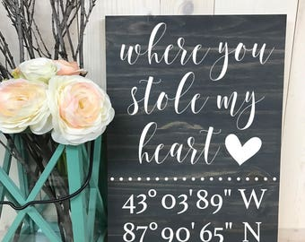 Where it all Began Sign // Coordinates Sign // Rustic Sign // Custom Sign // Home Decor // Wedding Sign // Wood Sign //