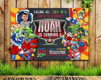 Rescue Bots Invitation, Rescue Bots Birthday, Rescue Bots Party, Rescue Bots Card, Rescue Bots Printable, Rescue Bots, SL