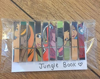 Disney Jungle Book Wooden Peg Magnets Place Card Holders Set of 10 Memo Notes