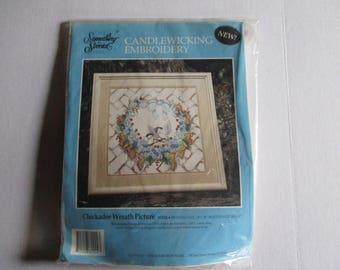 Candlewicking Embroidery Kit, Candlewicking Kit, Embroidery Kit, Chickadee Wreath Picture Kit, Chickadee Embroidery Kit, Chickadee Wreath