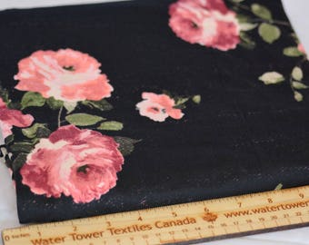 Double Brushed Polyester Spandex, Vintage Roses – 1/2 meter