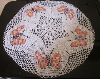 beads with butterfly doily