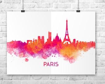 Paris skyline printable, Paris print, skyline city printable Paris skyline watercolor, Paris watercolor, Paris wall art, Paris skyline print