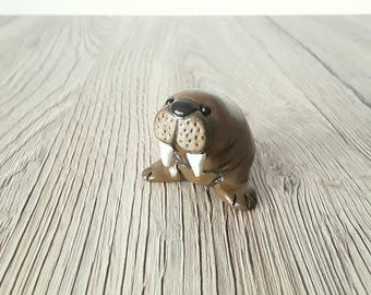 Walrus miniature handmade hand painted  polymer clay animal figurine totem sculpture ornament UK shop