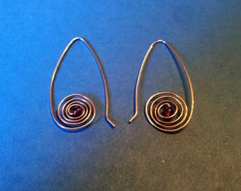 Sterling silver swirled hoops with Amethyst bead