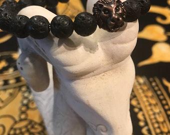 8mm or 10mm Lava Stone Bracelet with Bronze Lion Head