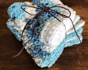 Set of Dishcloths Blue White Farmhouse Granny Square Scrubby Housewarming Godt Set Handmade Crochet