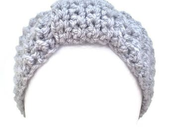 Crochet headband, Grey headband, Crochet earwarmer, Women headband, Textured headband, Handmade headband, Headbands for women, 30 Colours