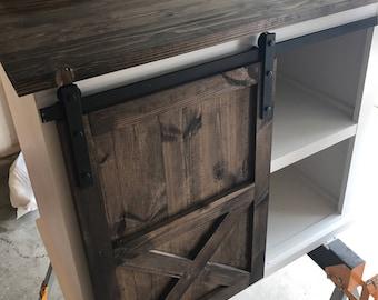 Medium Sliding Barn Door Vanity with Shelves