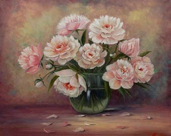 Peonies Home Interior Flowers Still Life Oil Painting Canvas Art Original Painting Impressionism Painting  Art Wall Art