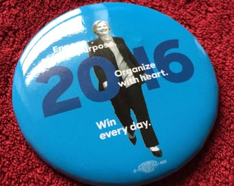 Hillary Clinton : 2016 Campaign Pin Button - (has dimples and scratches) Limited Edition
