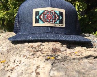 Tribal Print Beaded Hat