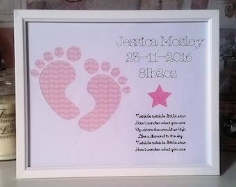 Personalised new baby footprints frame, TwinkleTwinkle Little Star, Room decor, Handmade