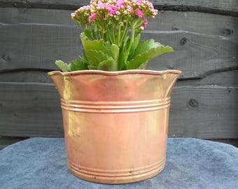 Vintage Brass Planter  with a swirly rim/7'' H by 9'' W/Brass decor/Vintage planter/Outdoors planter/Indoors planter