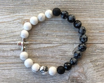 Essential Oil Diffuser Bracelet, Aromatherapy Bracelet, Howlite, Jasper, Lava Diffuser, Includes 1ml EO Sample Blend, Ships FREE in US