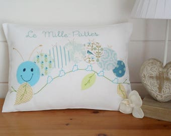 Nursery rhymes cushion * the centipede * (turquoise version)