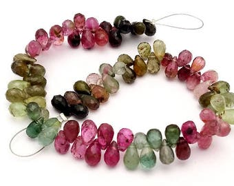 "Natural MULTI TOURMALINE faceted drops shaped beads ,watermelon tourmaline drops, 3.5x5 mm -- 4x7 mm ,7""strand[E1302]"