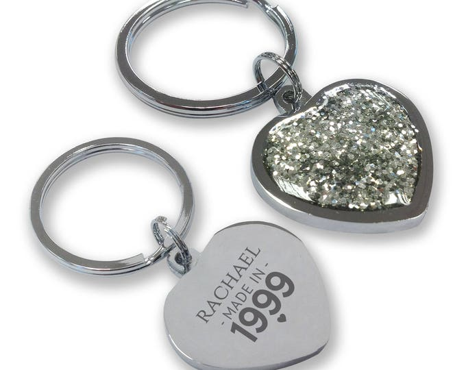 Personalised engraved 18TH BIRTHDAY keyring gift, glittery bling heart shaped keyring - GHE-M18