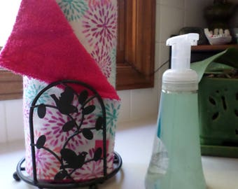 Reusable Unpaper Towels (Madison Mums with pink velcro) / Not Paper Towels / In stock and ready to ship