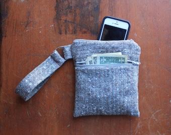 Quilted Wool Zipper Wristlet/Clutch - Medium
