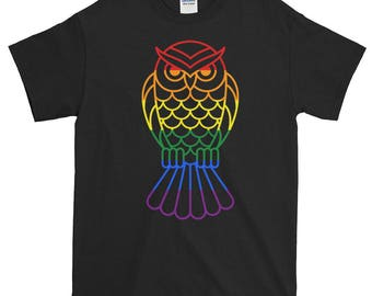 Rainbow Pride Owl Unisex Short-Sleeve T-Shirt bisexual gay lesbian transgender lgbt lgbtq lgbtqipa queer asexual