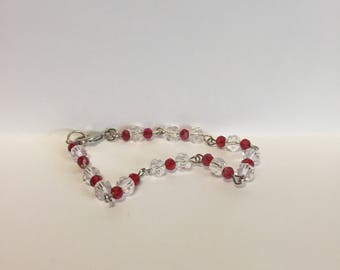 Red and white crystal bracelet