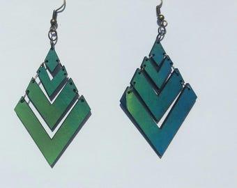 Rombus wood Earrings, wood Earrings, wood jewelry , green jewelry , blue Earrings , rombus Earrings, jewelry , rombus wood