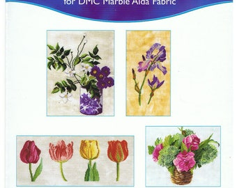 Grid, 4 diagrams DMC flowers counted cross stitch