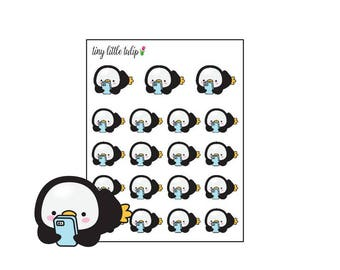 Planner Stickers Penguin Cellphone