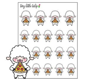 Planner Stickers Lamb Eating Pizza