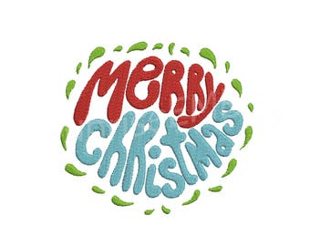 6 Sizes**Merry Christmas Embroidery design- 8 formats machine embroidery design - Instant Download machine embroidery pattern
