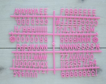 """Pink Retrogram Board 3/4"""" Letters-   150 numbers, #, ?, @ symbols and other punctuation for tons of sayings for Retrogram Letter Boards"""