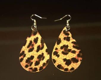 New!! Cheetah Hand Cut Leather Earrings. Leather Tear Drop Earrings.