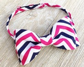 Pink White and Navy Chevron Boys Bow Tie with Adjustable Velcro Fastener