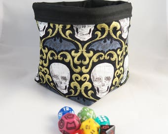 Gothic Dice Bag - Tile Pouch - Meeple - Square Base Storage Bag - Cotton - Reversible - Freestanding - Drawstring Handmade - RPG - D&D Gift