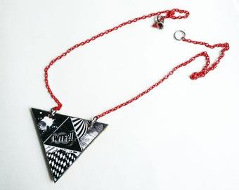 original fabric, triangle necklace