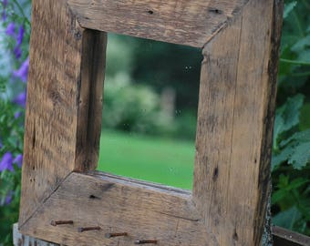 Rustic and recycled barn wood mirror / barn wood and wood/reclaimed wood framed mirror