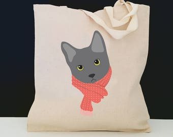 Personalized Gray Cat with Scarf Tote Bag (FREE SHIPPING), 100% Cotton Canvas Cat Tote Bag, Gray Cat Tote Bag, Cat Totes, Cat Gift, Gray Cat