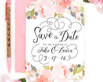 Watercolor Floral Save the date card, Save the date wedding card