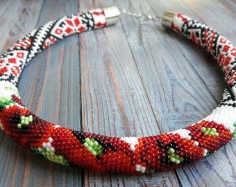 Ukrainian style Beaded necklace Beaded choker summer necklace choker Gift for women Red flowers Gift for her