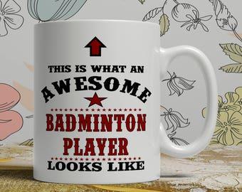awesome badminton mug badminton gift mug badminton coffee mug badminton gift idea badminton player mug funny badminton mug E1058 badminton