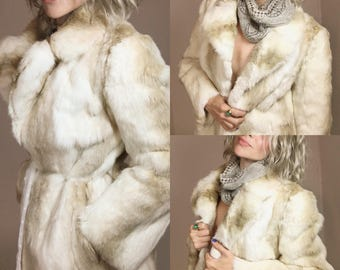 Ladies Vintage Rabbit Fur Coat